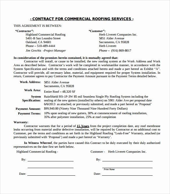 Free Roofing Contract Template Fresh Roofing Contract Template 13 Download Documents In Pdf