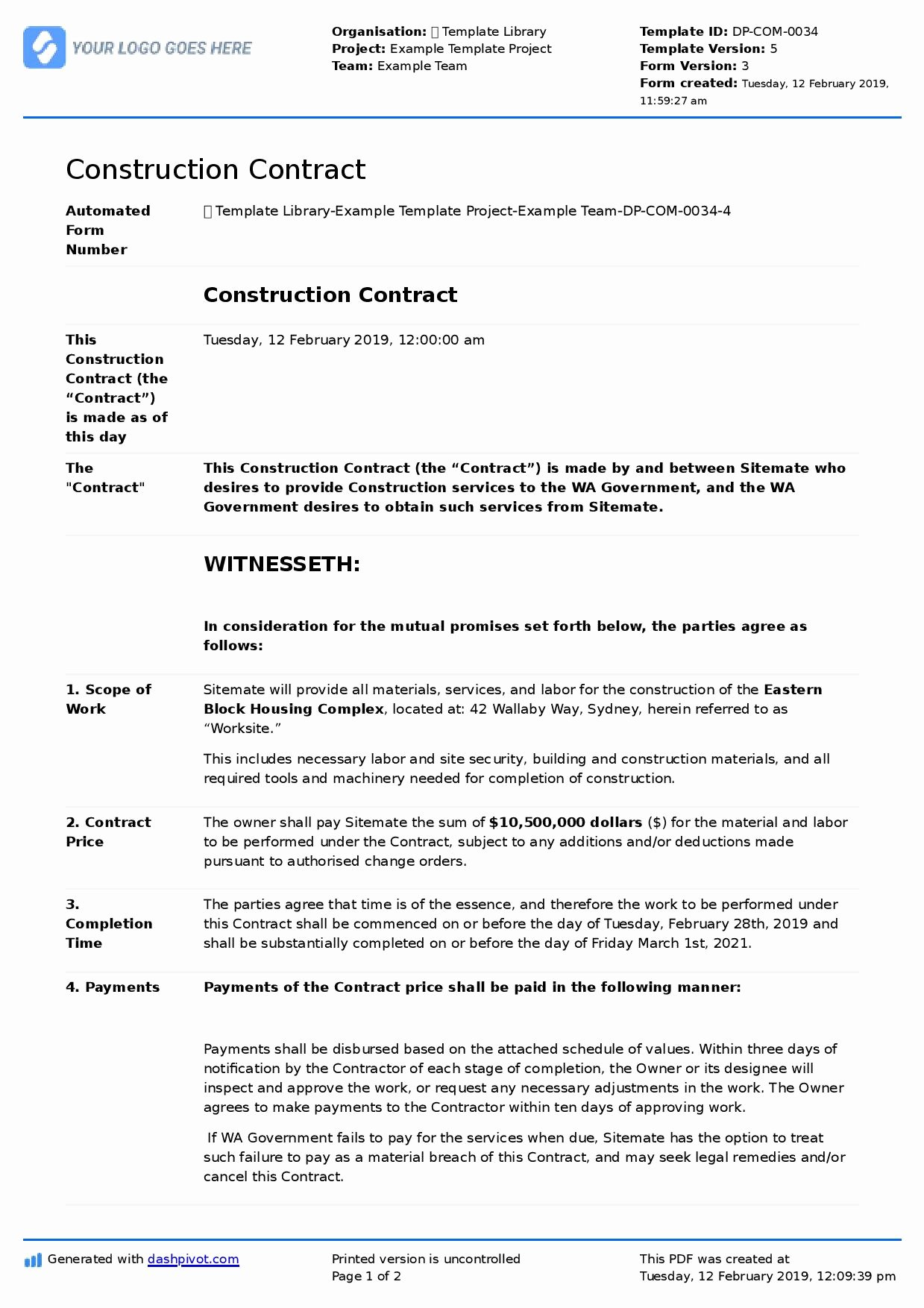 Free Roofing Contract Template Luxury Construction Contract Sample Better Than Word and Pdf