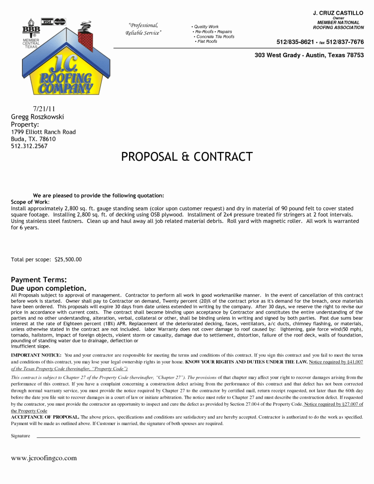 Free Roofing Contract Template Luxury Roofing Contract Template 1 Templates