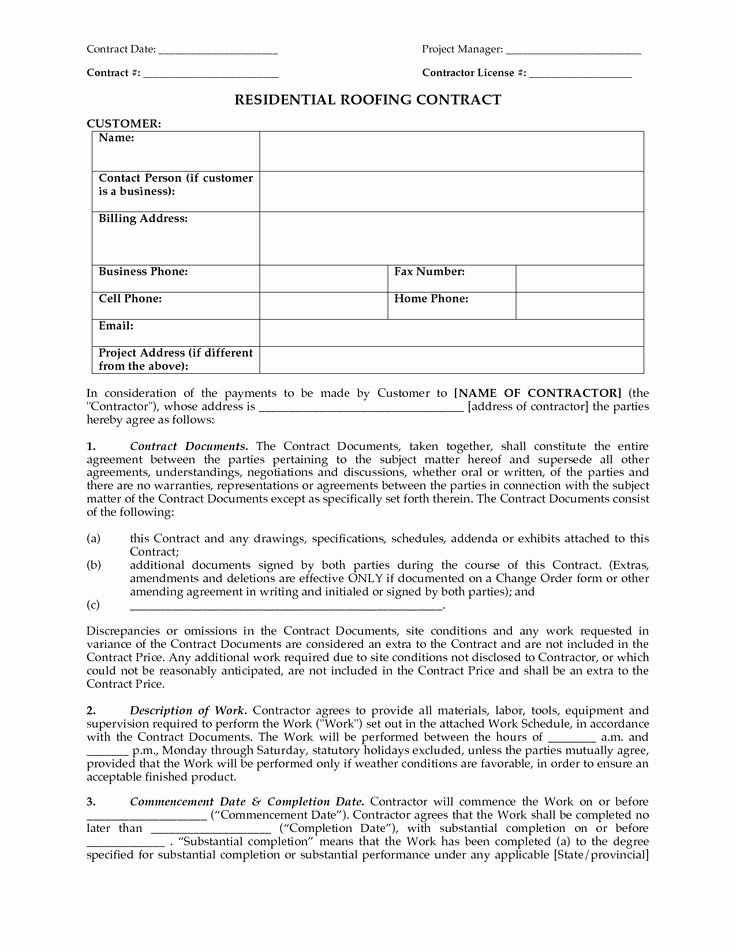 Free Roofing Contract Template Unique Residential Roofing Contract Contract Date Project Manager