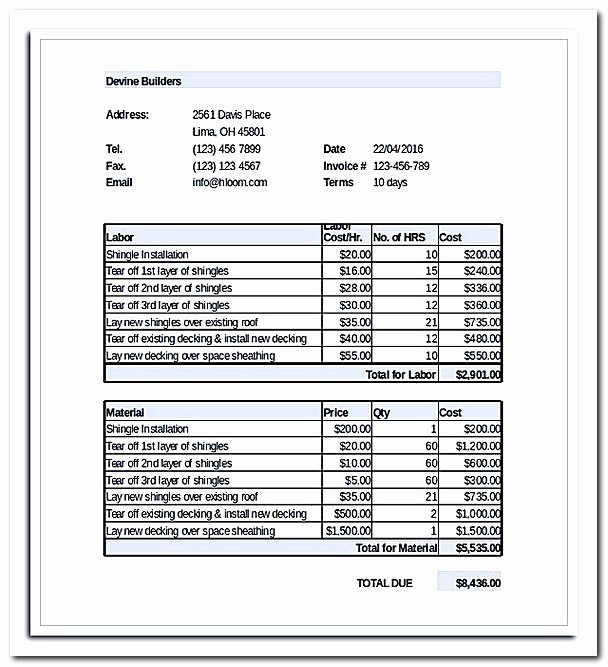 Free Roofing Estimate Template Best Of What to Be Included In Roofing Invoice Template with Example