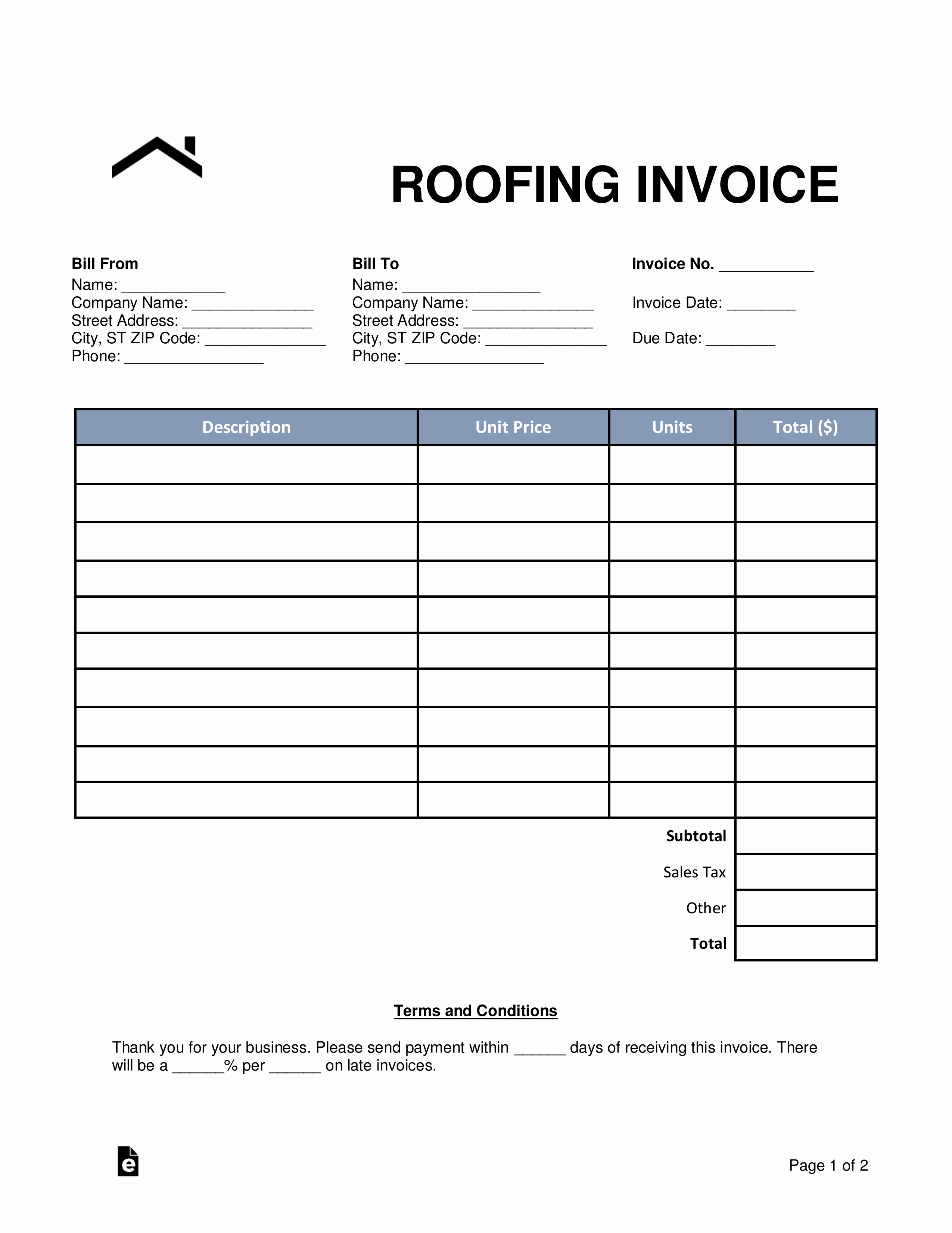 Free Roofing Estimate Template Elegant Free Roofing Invoice Template Word Pdf