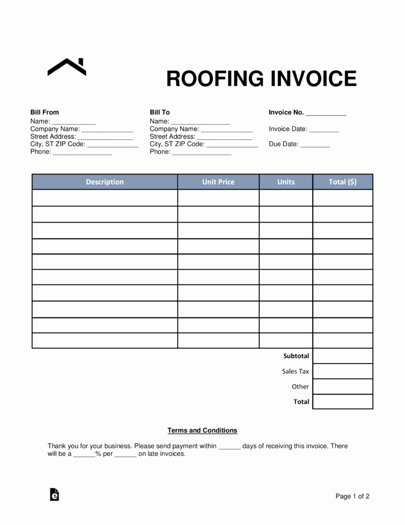Free Roofing Estimate Template New Free Roofing Invoice Template Word Pdf