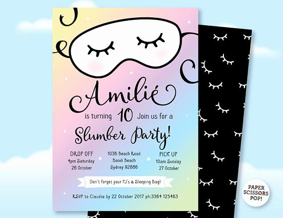 Free Sleepover Invitation Template Awesome Pajama Party Sleepover Invitation Slumber Party Invitation