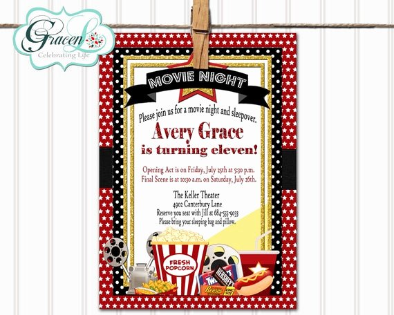 Free Sleepover Invitation Template Beautiful Movie Sleepover Birthday Invitation Movie Night Sleepover