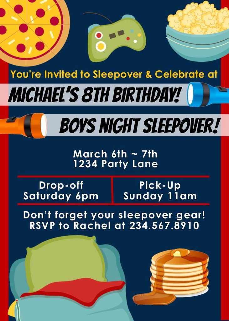 Free Sleepover Invitation Template Best Of top 10 Boys Sleepover Games