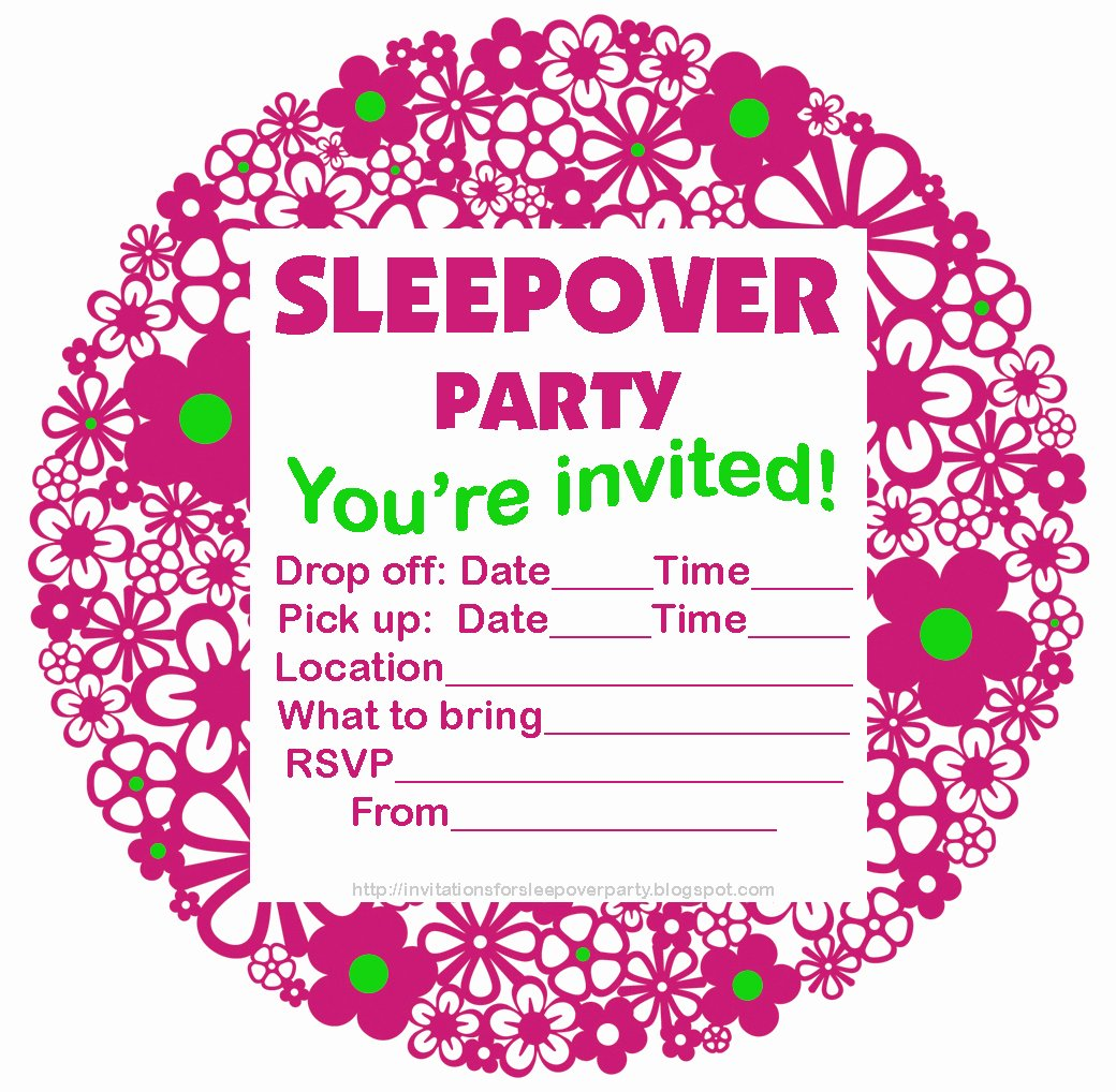 Free Sleepover Invitation Template Fresh Invitations for Sleepover Party