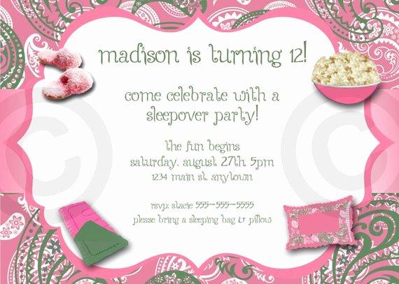 Free Sleepover Invitation Template Inspirational Paisley Slumber Party Invitation Printable Invite