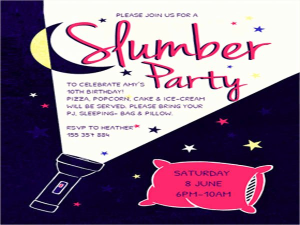 Free Sleepover Invitation Template Lovely 16 Slumber Party Invitation Designs & Templates Psd Ai