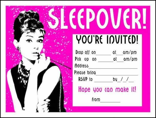 "Free Sleepover Invitation Template Lovely Reprise the ""fidel Castro"" Of Parties"