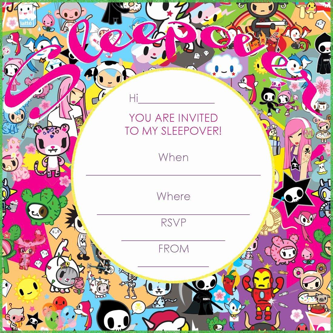 Free Sleepover Invitation Template Lovely tokidoki Birthday Party