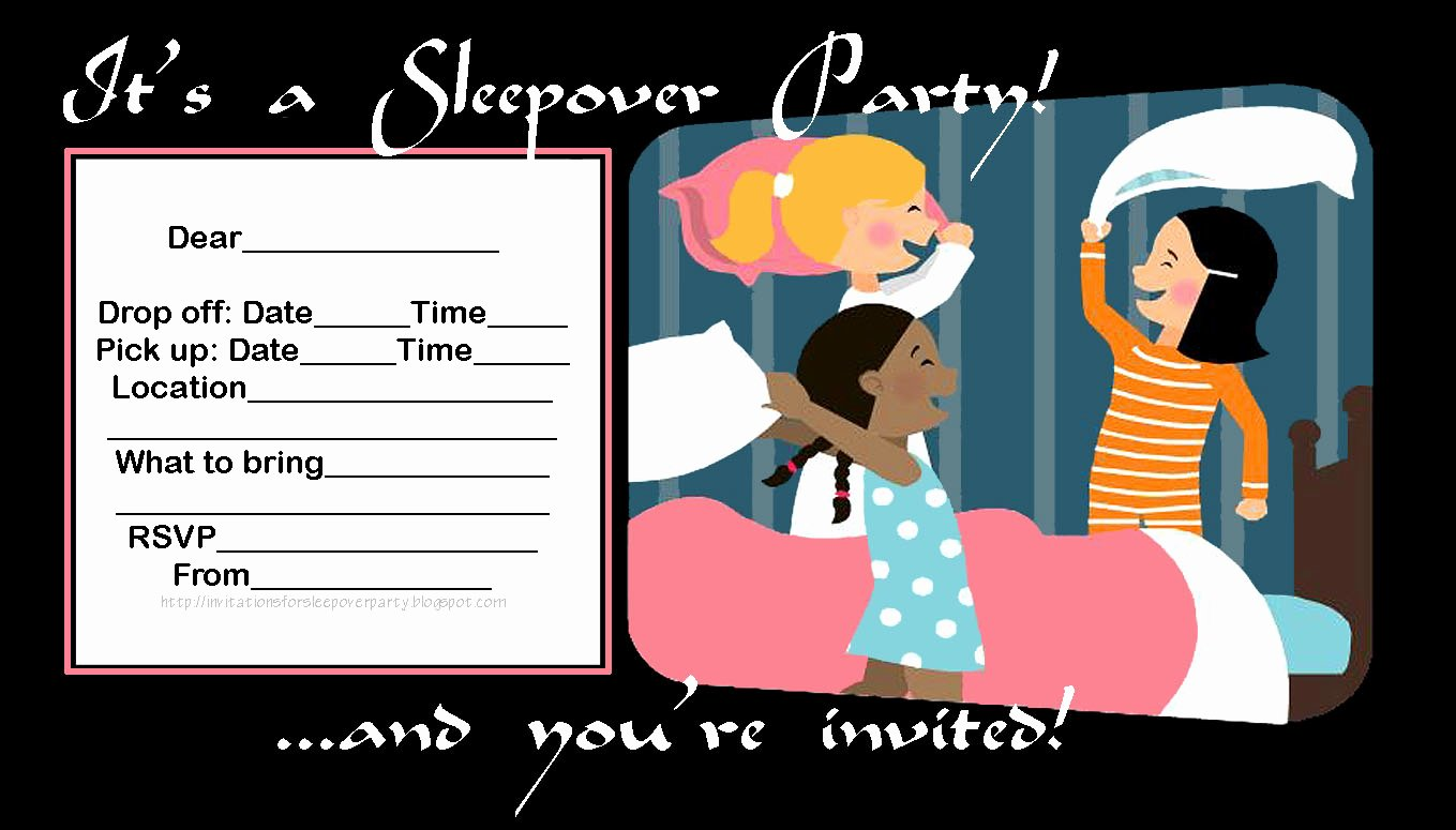 Free Sleepover Invitation Template Luxury Invitations for Sleepover Party