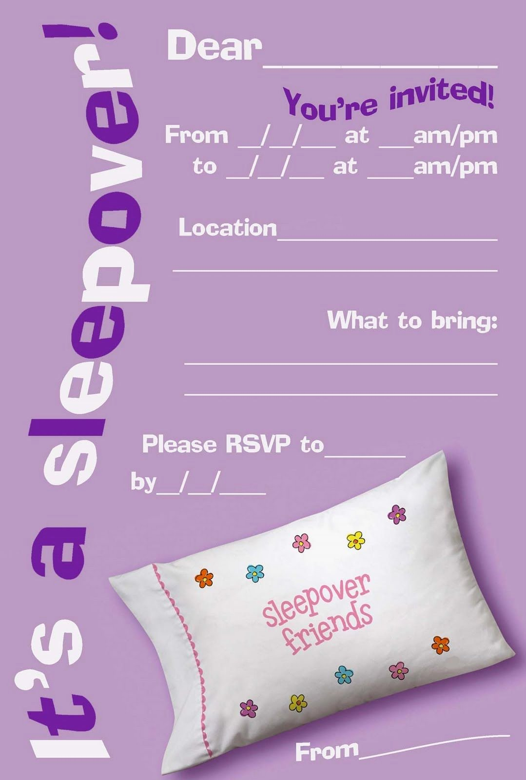 Free Sleepover Invitation Template Unique Free Printable Girls Slumber Party Invitations Google Search Kiddos