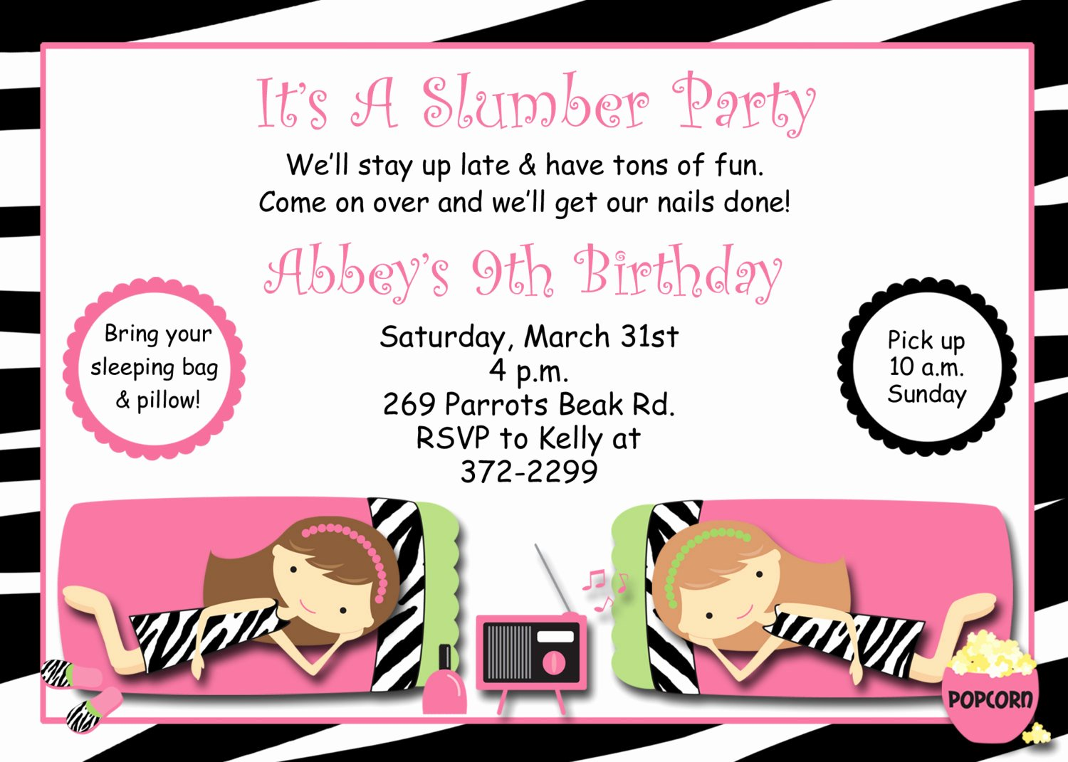 Free Sleepover Invitation Template Unique Slumber Party Birthday Invitation Pajama Party Sleepover