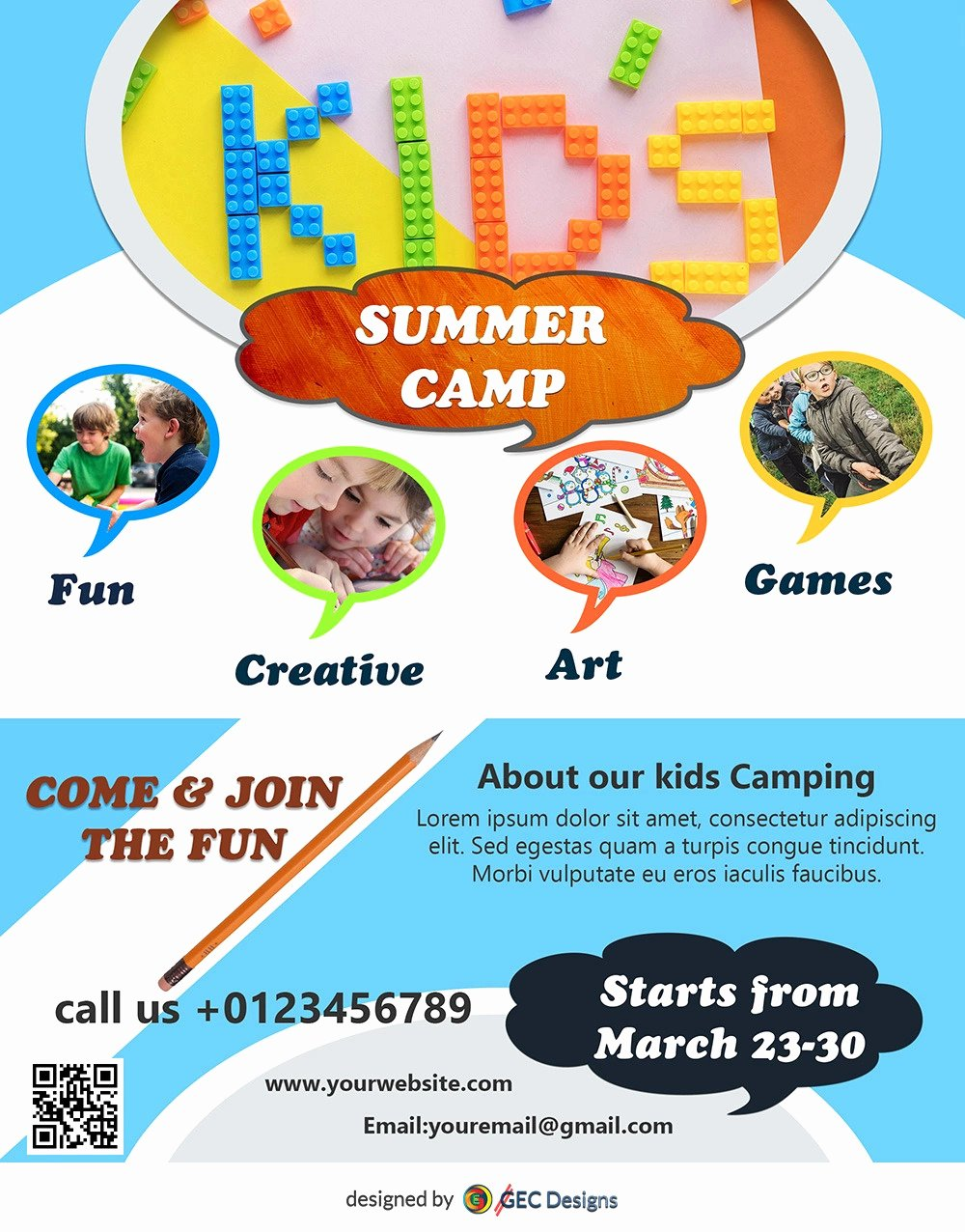 Free Summer Camp Flyer Template Awesome Download Free Kids Summer Camp Flyer Design Templates