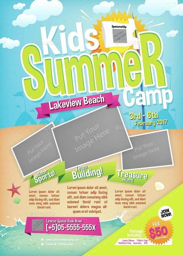 Free Summer Camp Flyer Template Beautiful Kids Summer Camp Flyer Summer Kids Flyer Camp Modern Business Card Design