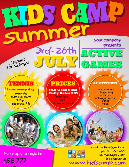 Free Summer Camp Flyer Template Lovely Create Free College Club Flyers