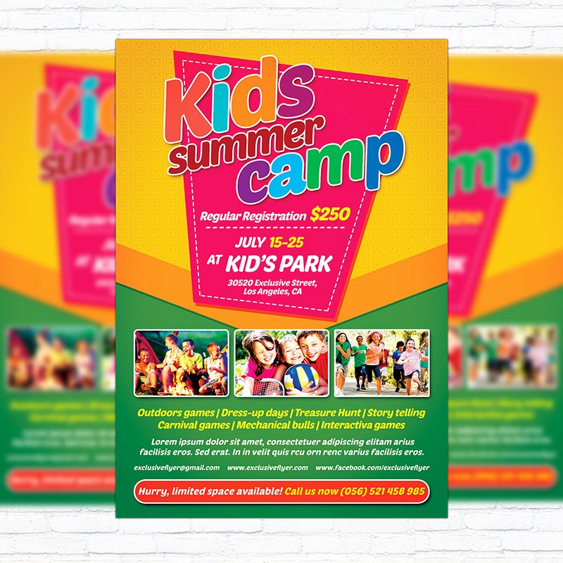 kids summer camp premium flyer template cover