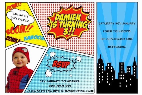 Free Superhero Invitation Template Awesome Printable Superhero Birthday Invitation Diy Printing Jpeg