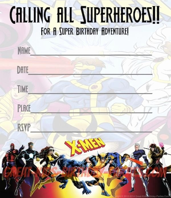 Free Superhero Invitation Template Beautiful Free X Men Party Invitations Print these Fun Invitations for Your Next X Men Party Just