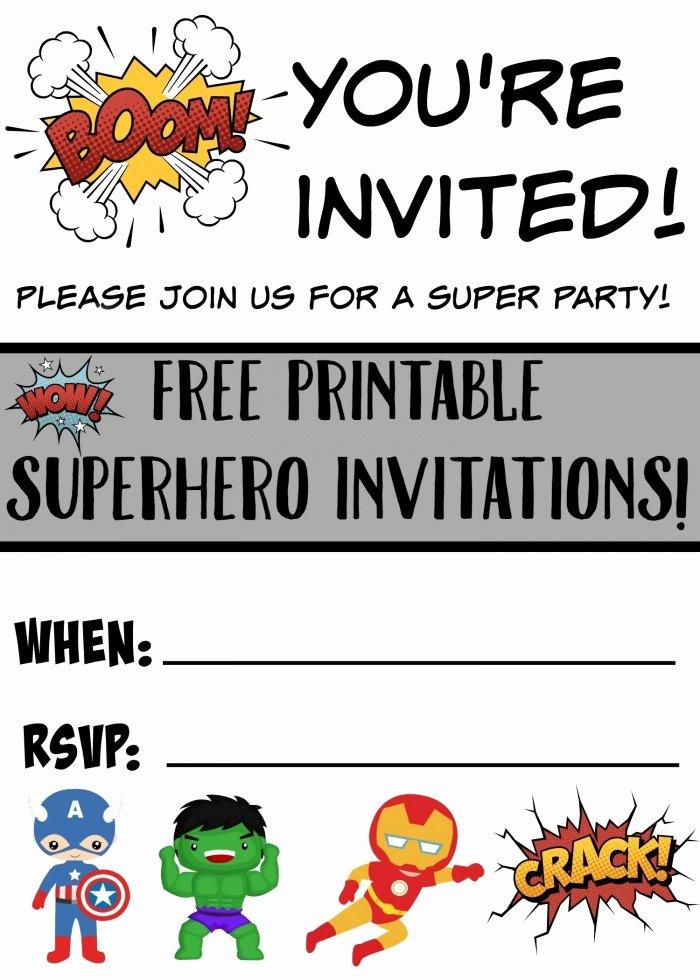Free Superhero Invitation Template Lovely Free Printable Superhero Birthday Invitations Not Quite Susie Homemaker