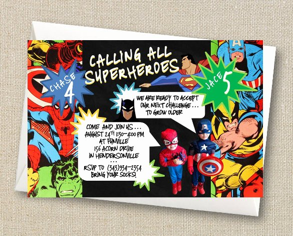 Free Superhero Invitation Template New 21 Superhero Birthday Invitations Psd Vector Eps Ai Word