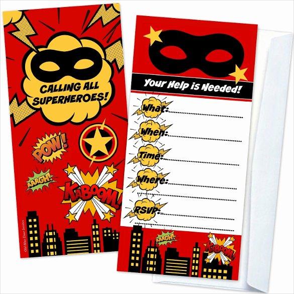 Free Superhero Invitation Template Unique 30 Superhero Birthday Invitation Templates Psd Ai