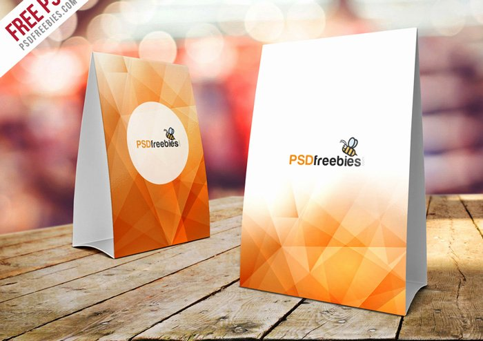 free table tent mockup psd templates