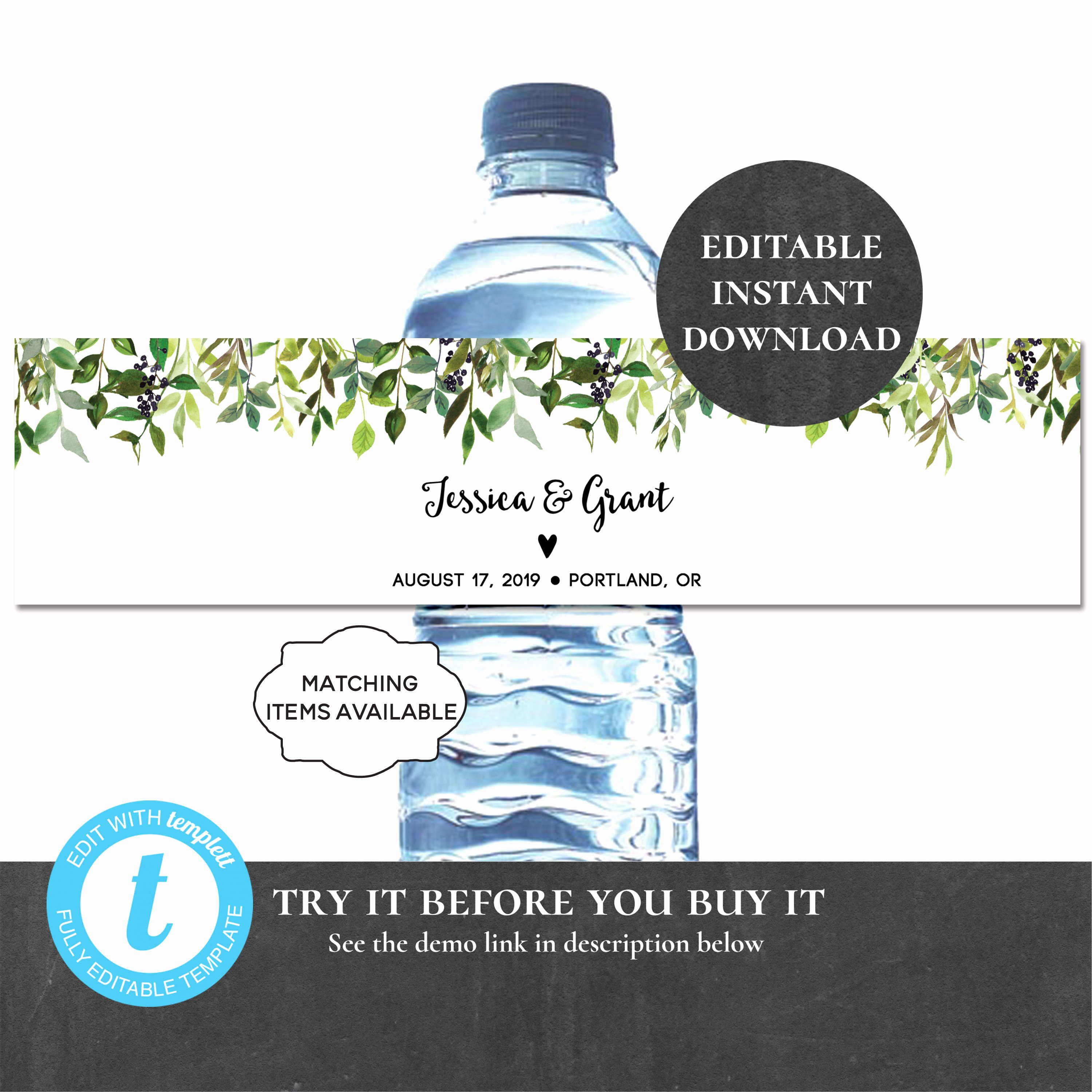 Free Water Bottle Label Template Luxury Personalized Water Bottle Label Editable Printable Greenery