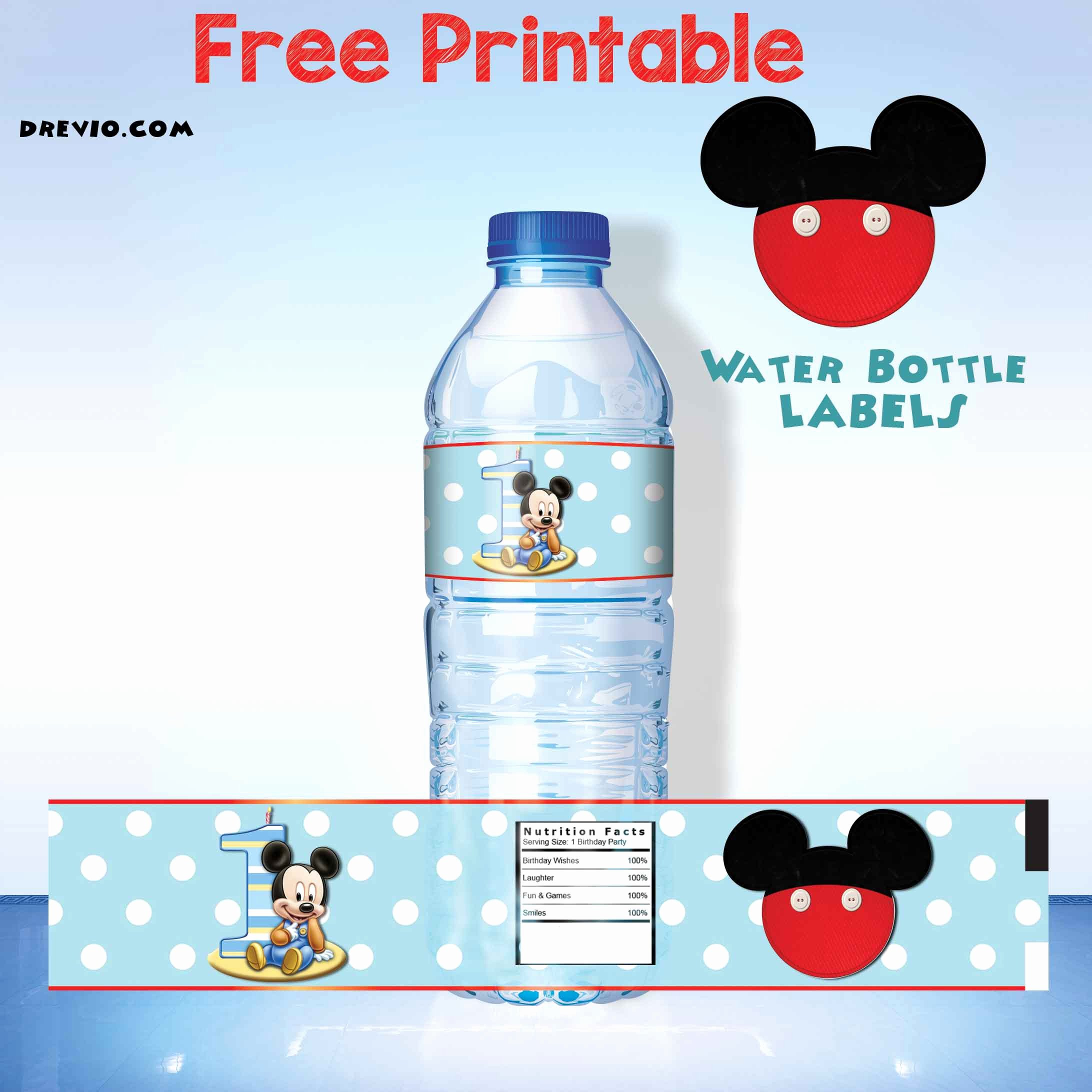 Free Water Bottle Labels Awesome Mickey Mouse Clubhouse 1st Birthday Invitations Free