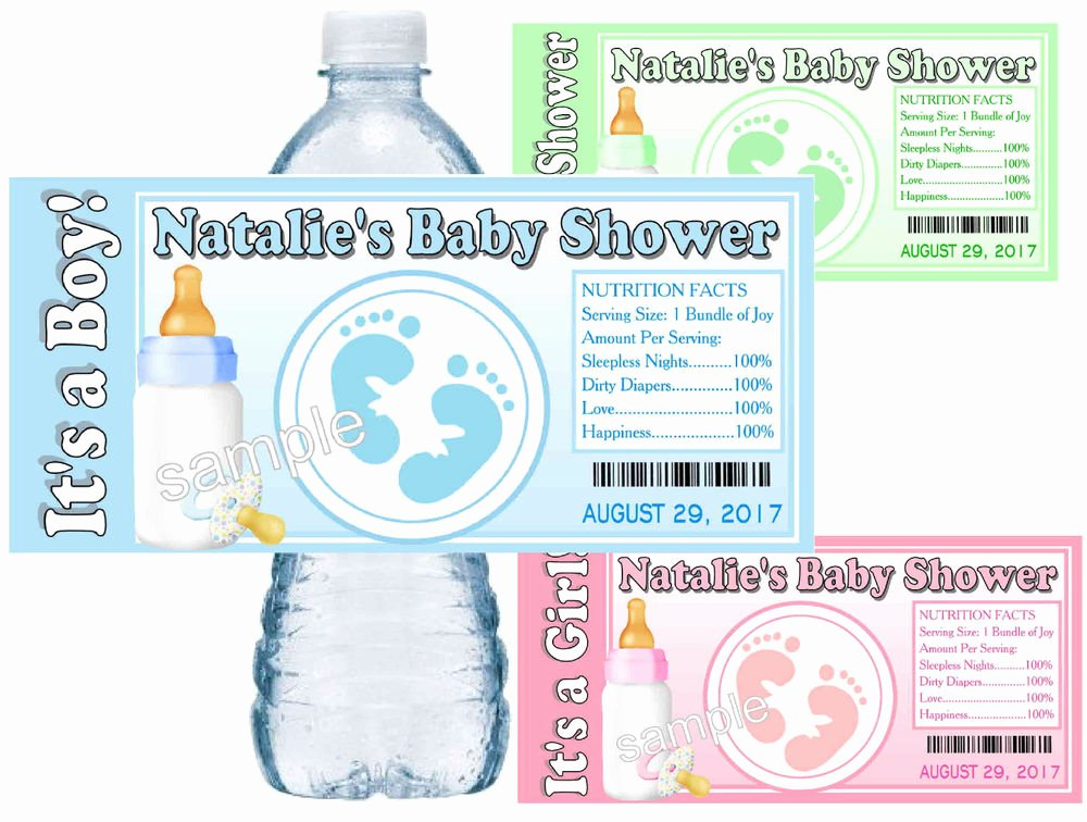 Free Water Bottle Labels Luxury 30 Baby Shower Water Bottle Labels Baby Feet Glossy
