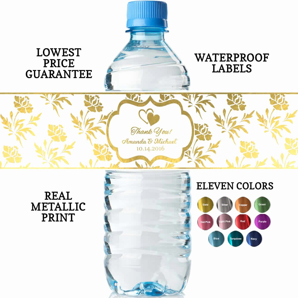Free Water Bottle Labels Luxury Personalized Wedding Water Bottle Labels Real Metallic