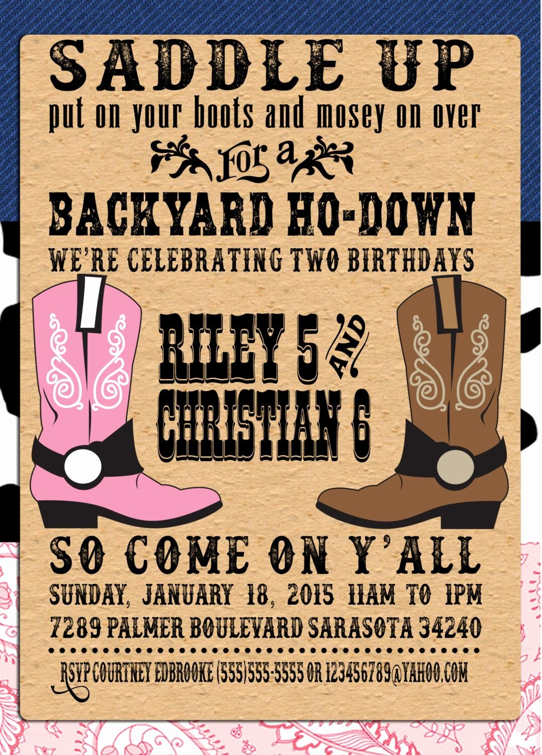 Free Western Invitation Templates Awesome Pin by Crafted by Yudi On Cowboy theme