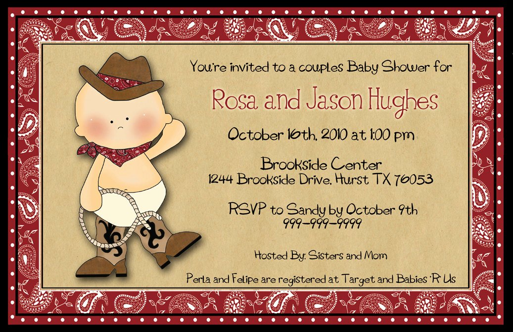 Free Western Invitation Templates Beautiful Cowboy Funny themed Baby Shower Ideas