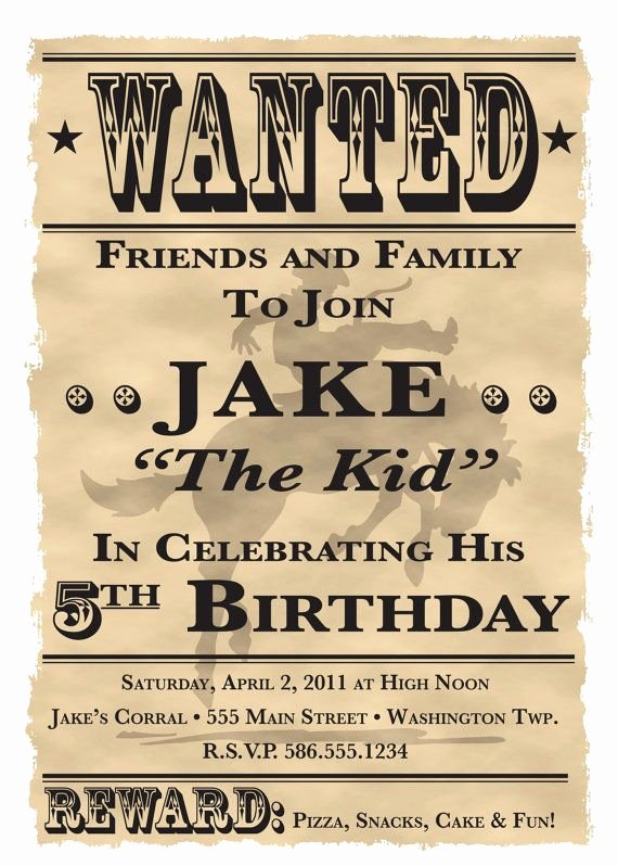 "Free Western Invitation Templates Best Of Wanted Poster Cowboy Western theme Birthday Party Invitation 5"" X 7"" Digital Printable File"