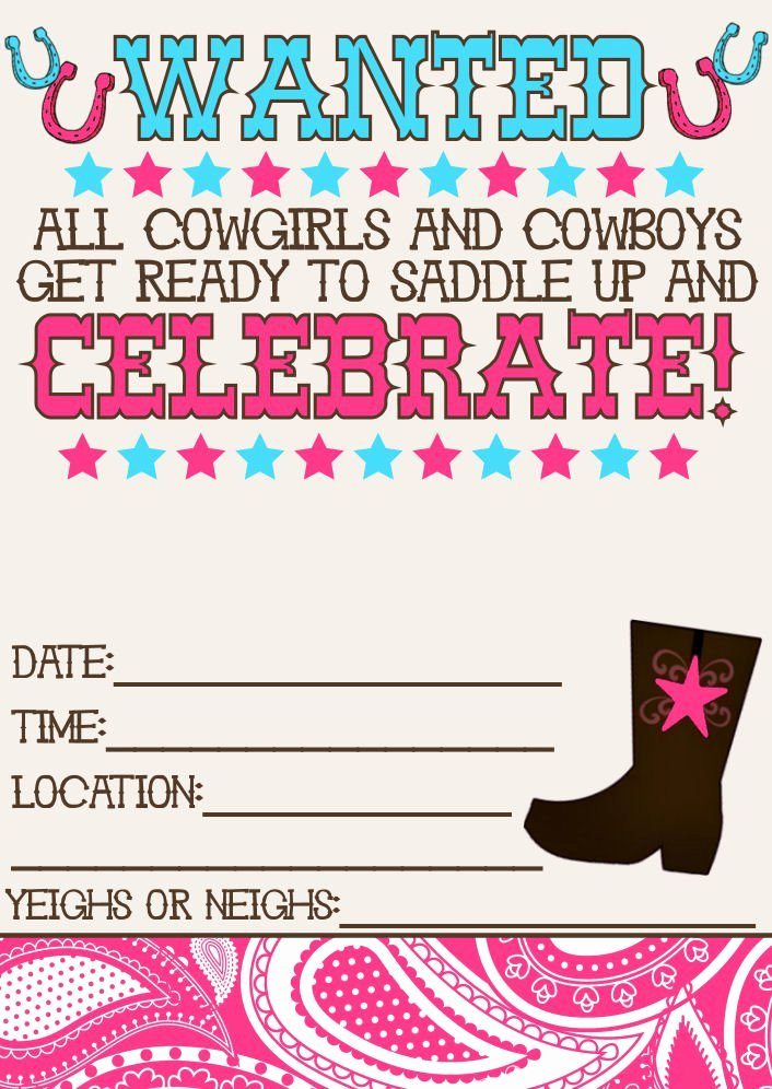 Free Western Invitation Templates Elegant Free Printable Western Birthday Invitations