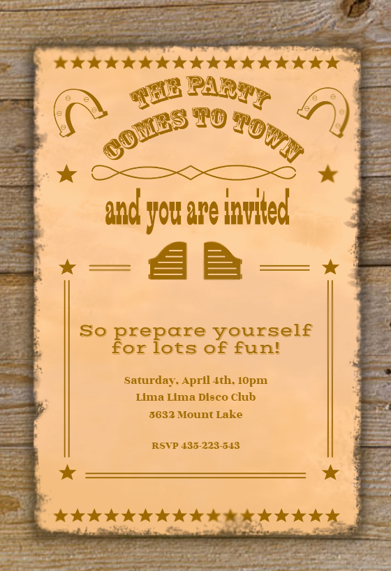 Free Western Invitation Templates Fresh Western Party Printable Party Invitation Template Free