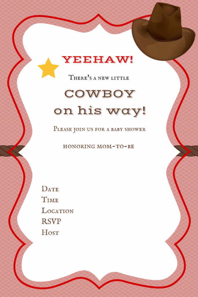 Free Western Invitation Templates Lovely Little Cowboy Baby Shower Invitations Party Xyz