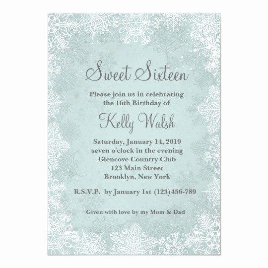 Free Winter Wonderland Invitations Templates Beautiful Snowflakes Sweet 16 Winter Wonderland Invitation