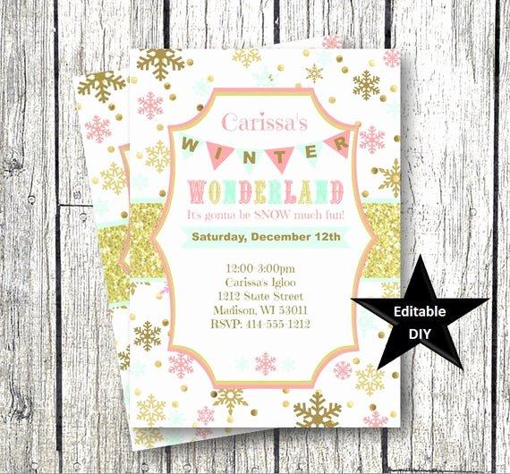 Free Winter Wonderland Invitations Templates Best Of Winter Wonderland Invitation Template Gold Pink Mint
