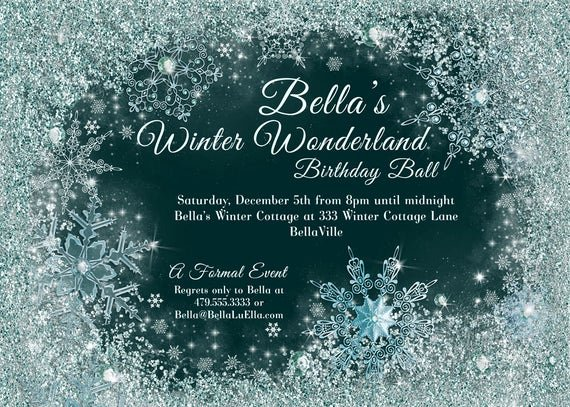 Free Winter Wonderland Invitations Templates Best Of Winter Wonderland Party Winter Snowflake Ball by Bellaluella