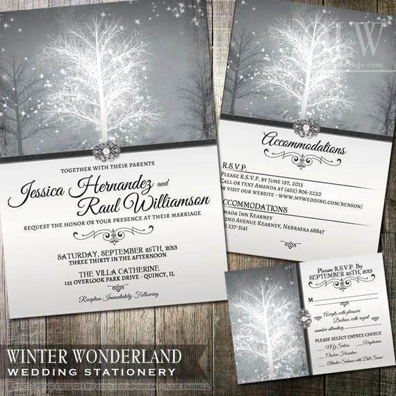 Free Winter Wonderland Invitations Templates Elegant Winter Wonderland Wedding Invitation Rsvp and by Oddlotpaperie