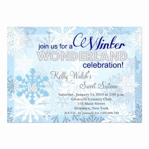 "Free Winter Wonderland Invitations Templates Fresh Snowflakes Sweet 16 Winter Wonderland Invitation 5"" X 7"