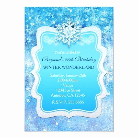 Free Winter Wonderland Invitations Templates Inspirational Frozen Ice Winter Wonderland Snowflake Invitations