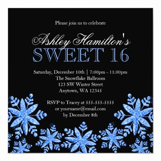 Free Winter Wonderland Invitations Templates Inspirational Sparkle Snowflakes Blue Sweet 16 Winter Wonderland