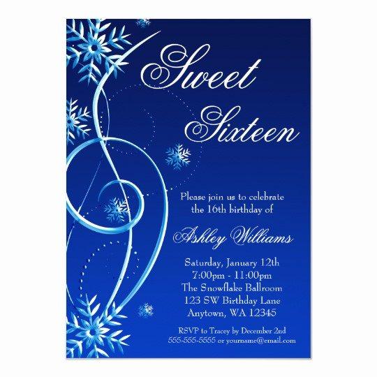 Free Winter Wonderland Invitations Templates Lovely Blue Swirl Winter Wonderland Sweet 16 Invitation