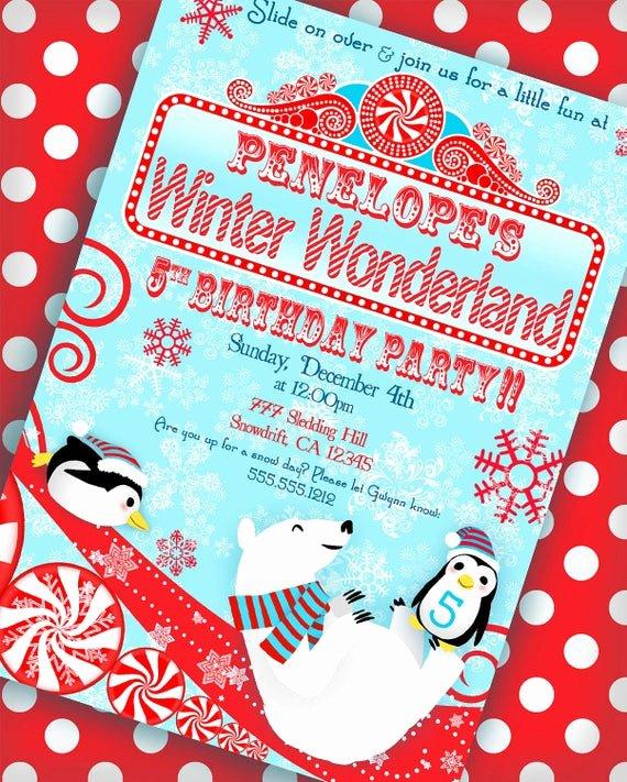 Free Winter Wonderland Invitations Templates New Winter Wonderland Invitation Penguin Party by