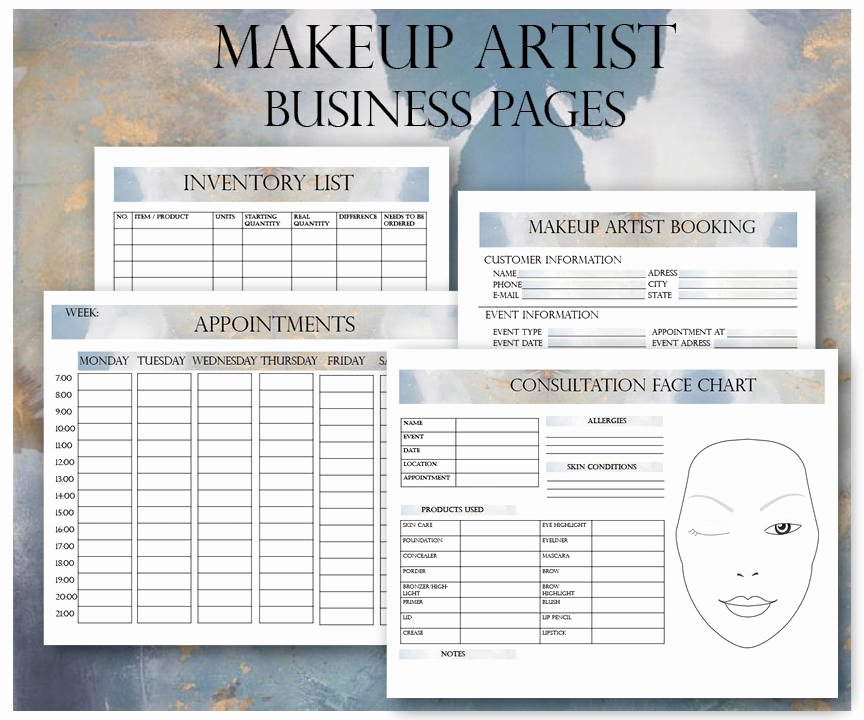 Freelance Makeup Artist Contracts Fresh Makeup Artist Business Planner Bundle Freelance Makeup Artist