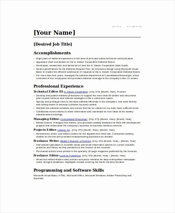Freelance Writer Resume Sample Unique Freelance Resume Template 6 Free Word Pdf Documents Download