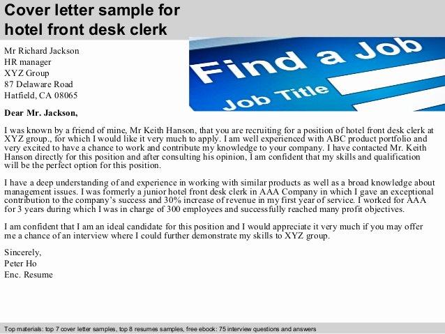 Front Desk Cover Letter Awesome Hotel Front Desk Clerk Cover Letter